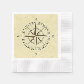 Vintage Nautical Compass Rose Ivory Paper Napkin