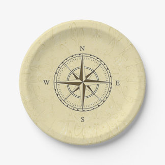 Vintage Nautical Compass Rose Ivory Paper Plate