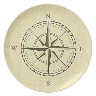 Vintage Nautical Compass Rose Ivory Plate