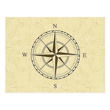 cielart Vintage Nautical Compass Rose Ivory Postcard