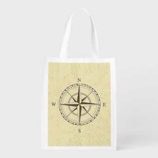 Vintage Nautical Compass Rose Ivory Reusable Grocery Bag