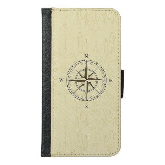 Vintage Nautical Compass Rose Ivory Samsung Galaxy S6 Wallet Case