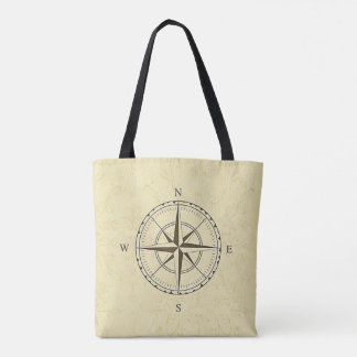 Vintage Nautical Compass Rose Ivory Tote Bag