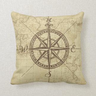 Vintage Nautical Compass Throw Pillow