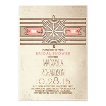 Beach Themed vintage nautical coral bridal shower invitation