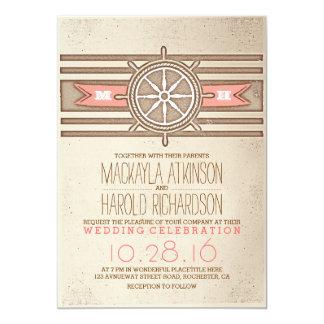 vintage nautical coral wedding invitation
