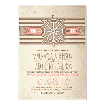 Beach Themed vintage nautical coral wedding invitation
