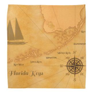 Vintage Nautical Florida Keys Map Bandana