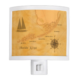 Vintage Nautical Florida Keys Map Night Lite