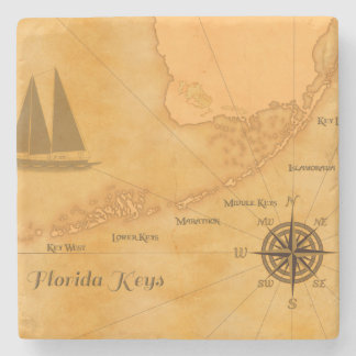 Vintage Nautical Florida Keys Map Stone Coaster