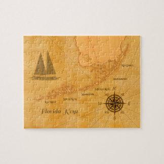 Vintage Nautical Florida Keys Map Jigsaw Puzzle