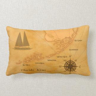 Vintage Nautical Florida Keys Map Lumbar Pillow