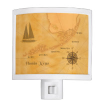 Vintage Nautical Florida Keys Map Night Light