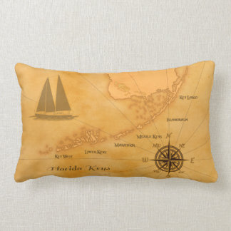 Vintage Nautical Florida Keys Map Throw Pillows