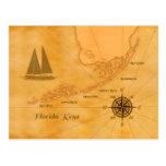 Vintage Nautical Florida Keys Map Postcard at Zazzle