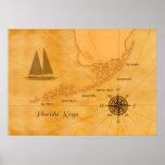 Vintage Nautical Florida Keys Map Poster