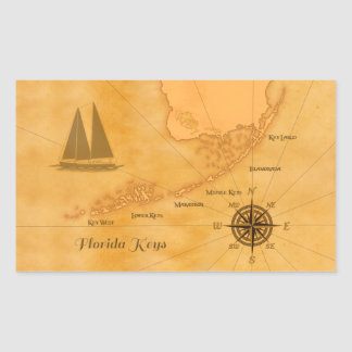 Vintage Nautical Florida Keys Map Rectangular Sticker