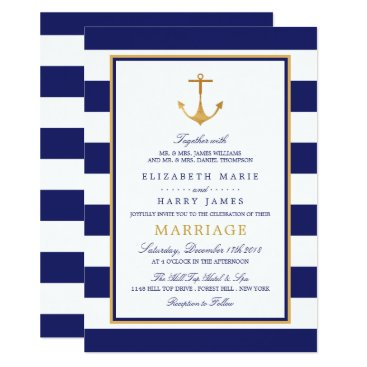 Beach Themed Vintage Nautical Gold Anchor Wedding Card