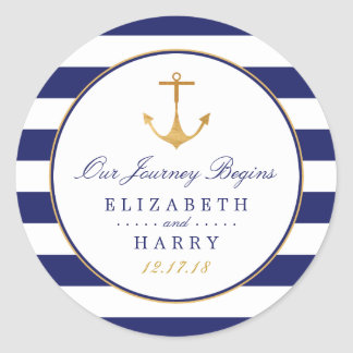 Vintage Nautical Gold Anchor Wedding Classic Round Sticker