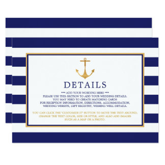 Vintage Nautical Gold Anchor Wedding Detail Card