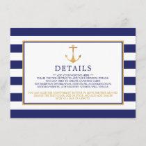 Vintage Nautical Gold Anchor Wedding Detail Enclosure Card