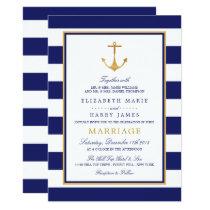 Vintage Nautical Gold Anchor Wedding Invitation