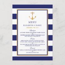 Vintage Nautical Gold Anchor Wedding Menu