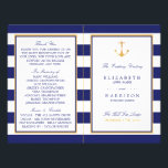"""Vintage Nautical Gold Anchor Wedding Program<br><div class=""""desc"""">These wedding programs are perfect for any couple planning a nautical wedding celebration. The vintage design can be personalized to suit your special event and will be the perfect order of service for any nautical themed party,  including; bridal showers,  engagements,  wedding showers,  birthday parties and much,  much more.</div>"""