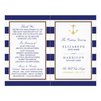 Vintage Nautical Gold Anchor Wedding Program