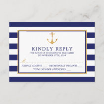 Vintage Nautical Gold Anchor Wedding RSVP