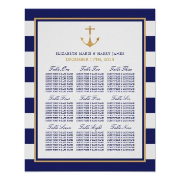 Beach Themed Vintage Nautical Gold Anchor Wedding Seating Chart Poster