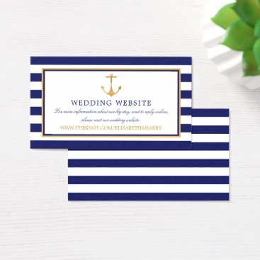 Beach Themed Vintage Nautical Gold Anchor Wedding Website Business Card