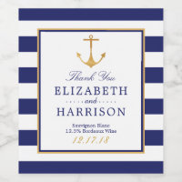 Vintage Nautical Gold Anchor Wedding Wine Label