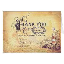 Vintage nautical lighthouse wedding thank you card