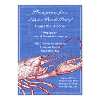 Vintage Nautical Lobster Bake Beach Party Card