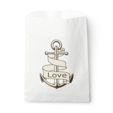Beach Themed Vintage Nautical Love Anchor And Ship Wheel Brown Favor Bag