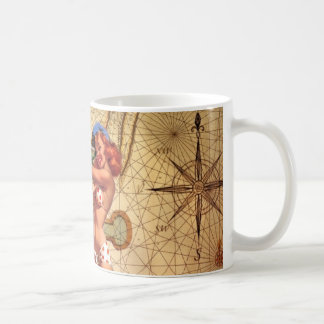 Vintage Nautical Map Anchor Pin Up Girl Sailor Coffee Mug