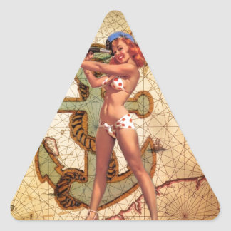 Vintage Nautical Map Anchor Pin Up Girl Sailor Triangle Sticker