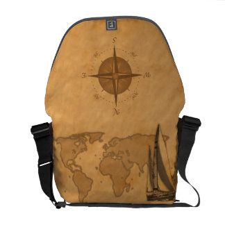 Vintage Nautical Map Messenger Bag