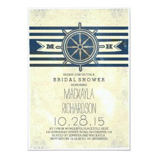 vintage nautical navy bridal shower invitation