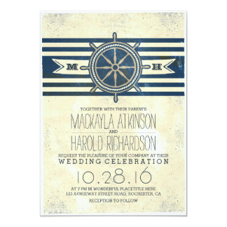 vintage nautical navy wedding invitation
