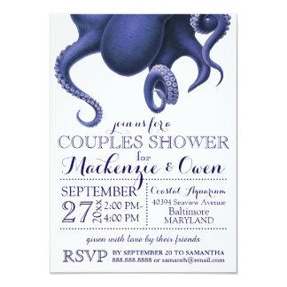 Vintage Nautical Ocean Octopus Couples Shower Card