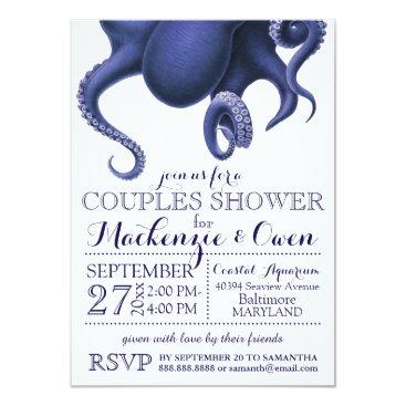Beach Themed Vintage Nautical Ocean Octopus Couples Shower Card