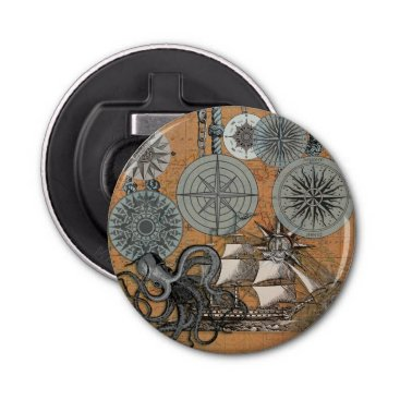 Beach Themed Vintage Nautical Octopus Sailing Art Print Graphic Bottle Opener