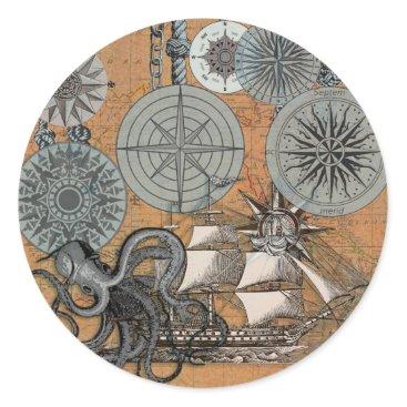 Beach Themed Vintage Nautical Octopus Sailing Art Print Graphic Classic Round Sticker