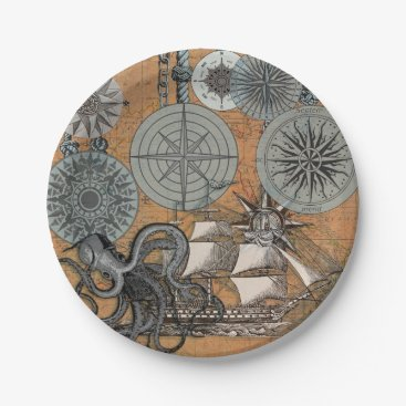 Beach Themed Vintage Nautical Octopus Sailing Art Print Graphic Paper Plate