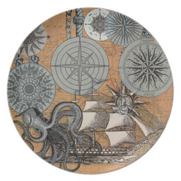 Beach Themed Vintage Nautical Octopus Sailing Art Print Graphic Plate