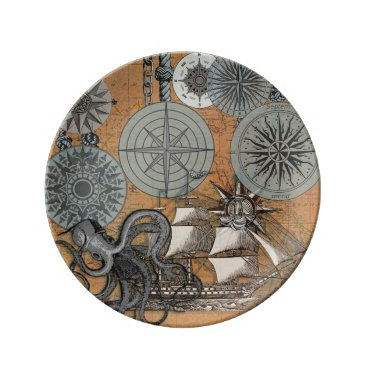 Beach Themed Vintage Nautical Octopus Sailing Art Print Graphic Porcelain Plate