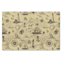 Vintage Nautical Pattern Old Map Background Tissue Paper