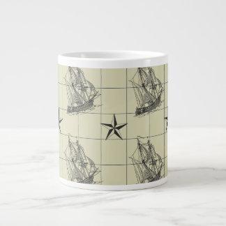 Vintage Nautical Pattern, Retro Ship, Dirty Green Large Coffee Mug